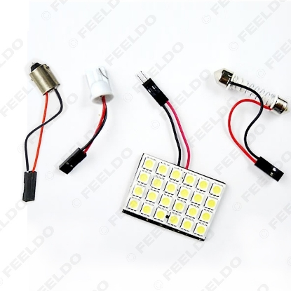 Picture of White Car 24SMD 5050 3-Chips LED Panel Dome Light with T10/BA9S/Festoon Adapters Dome Bulbs