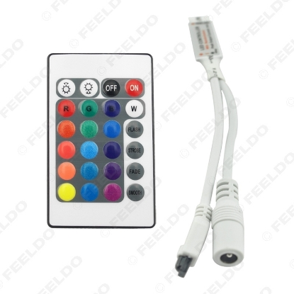 Picture of Car 5-24V 6A Mini RGB LED IR Wireless Controller with 24 Keys RGB Remote Control for LED Light Bar Lamp 24 Modes