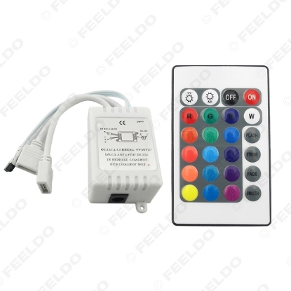 Picture of Car Mini IR LED Controller Ribbon Tape Wireless 24 Keys Remote For 3528 5050 RGB LED Strip Lights