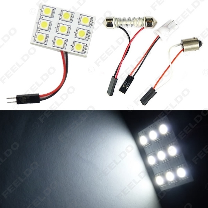 Picture of White 9SMD 5050 3-Chips Car LED Light Dome Panel with T10/BA9S/Festoon Adapters Bulb Lamps