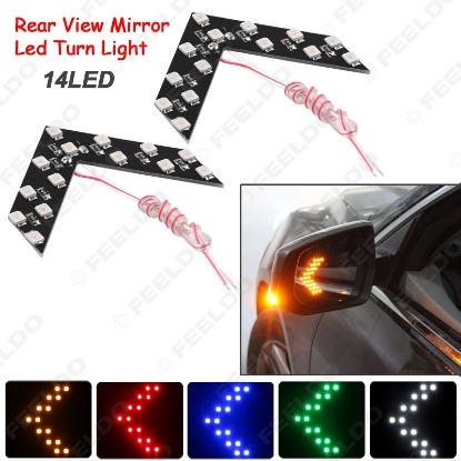 Picture of 1pcs Auto/Car LED Arrow Lights 14-smd Side Mirror Rear Turn Indicator LED Light 5 Colors for Choice