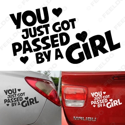 Picture of 1pcs Auto You Just Got Passed by A Girl Funny Car Window Bumper Reflective Sticker Decal Styling White/Black