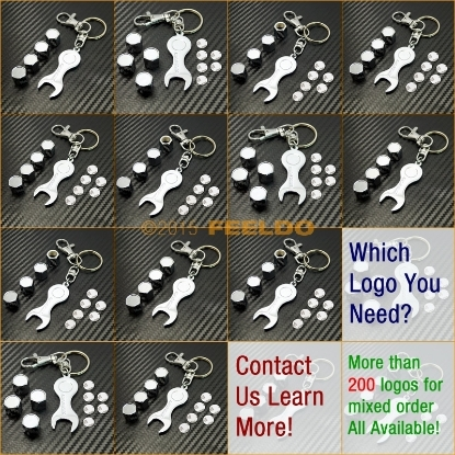 Picture of Car Chrome Zinc Alloy Tyre Valve Caps  Wrench Keychain  Mix Order