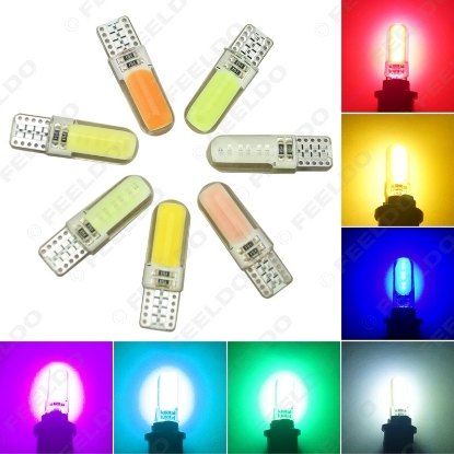 Picture of 1PC Auto T10 194 168 W5W COB 12 Chips Silica Car LED Door License LED Light Bulb Wedge Light 7-Color