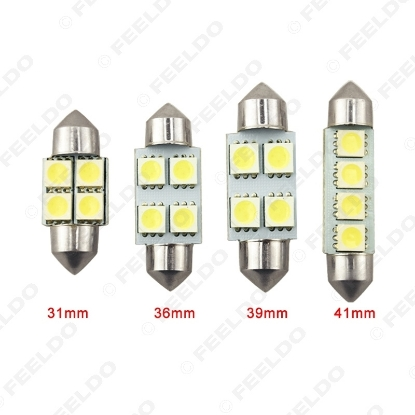 Picture of White Auto 31mm 36mm 39mm 41mm 5050 4SMD Festoon Dome LED Light Bulbs Reading Light