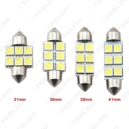 Picture of White Auto LED Bulbs 31mm 36mm 39mm 41mm 6-SMD 5050 Chip Festoon Dome Map Cargo Car LED Light