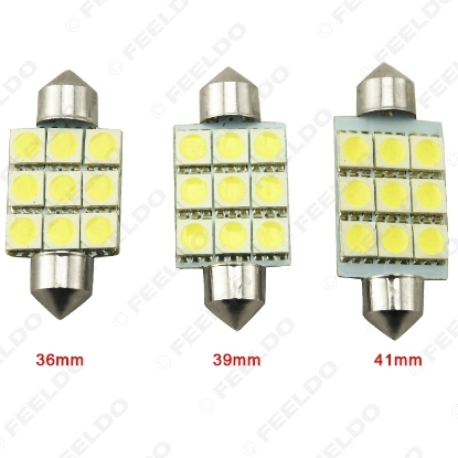 Picture of White 36mm 39mm 41mm 9SMD 5050 Car LED lights Festoon Dome LED bulbs Reading LED Light 12V