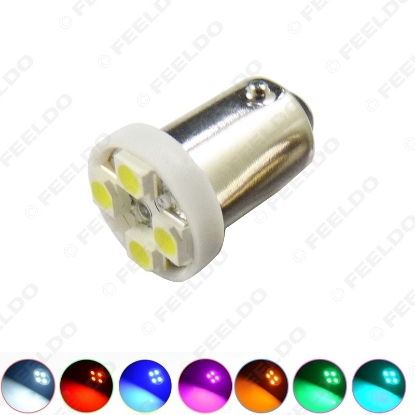 Picture of 1 pcs 7-Color BA9S T4W 1895 3528/1210 4SMD 4LED Car LED Light Dashboard Light Door Light 12V