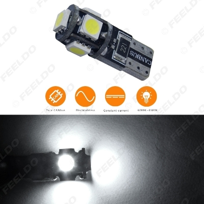 Picture of 1pcs DC12V~18V 6000~6500K White 5SMD 5050 T10 Wedge Lens LED Light Bulb With CANbus/Electrodeless/Constant Current