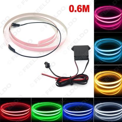 Picture of 1Set Car 60CM*14MM Electroluminescent Tape EL Wire Cold Light Strip Car Ambient Light DC12V 10 Colors
