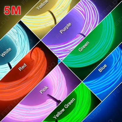 Picture of 8 colors 5m Flexible EL Neon Glow Lighting Rope Strip+Charger for Car Decoration