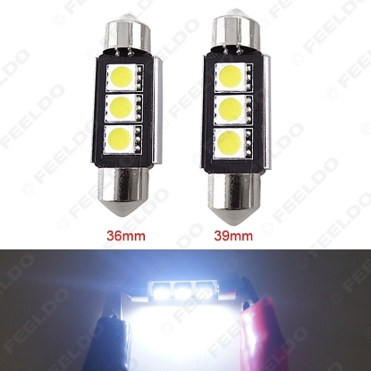 Picture of White 36mm Canbus 5050 Error-Free LED 3SMD Festoon turn signals Light Bulbs