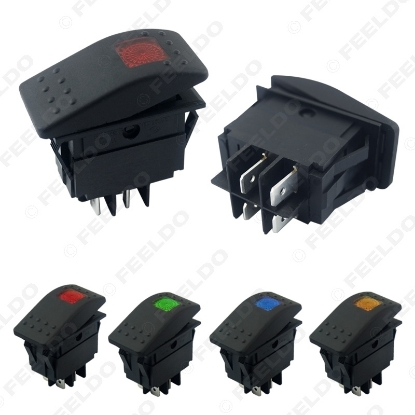 Picture of Car Boat Waterproof 4Pin Bar Rocker Toggle Switch On/Off with LED Light Blue/Red/Yellow/Green 12V