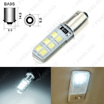 Picture of 1pc White DC12V Car T4W BA9S 12SMD 2835 Chip Silicone Case LED License Plate Bulbs Lamp Door Light