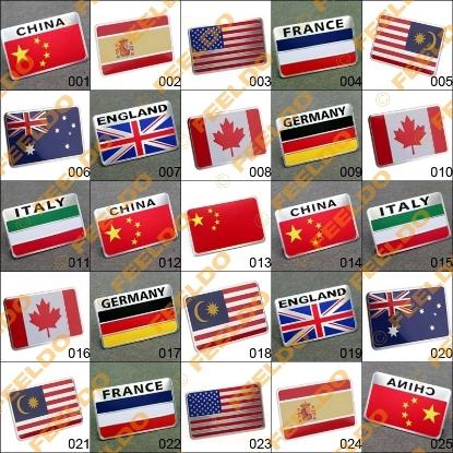 Picture of Car 3D Aluminum Alloy Chrome Rectangle National Flag Emblem Badge Sticker