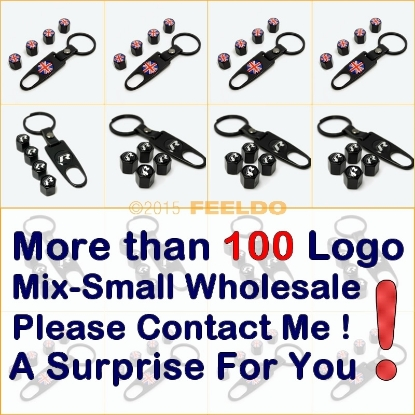 Picture of 4pcs/set Cool Black Car Tire Steam Valve Cap With Wrench Keychain For Mixed LOGO