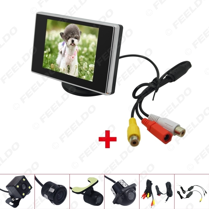 """Picture of 3.5"""" LCD TFT Stand-alone Monitor With Rear View Parking Camera RCA Video System 2.4G Wireless & Cigarette Lighter Optional"""