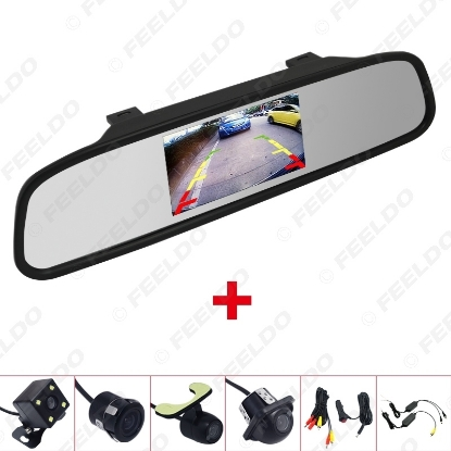 """Picture of 4.3"""" LCD TFT Rearview Mirror Monitor With Rear View Parking Backup Camera Video System 2.4G Wireless & Cigarette Lighter Optional"""