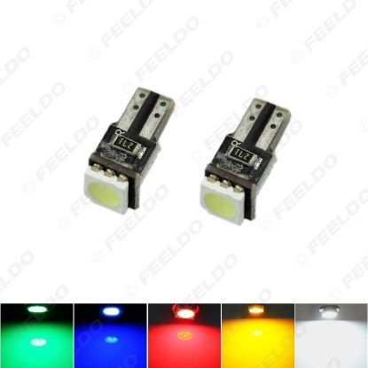 Picture of 1PC 5-Color T5 5050 1SMD Canbus No Error Car Interior Wedge Base LED Light Bulbs DC12V