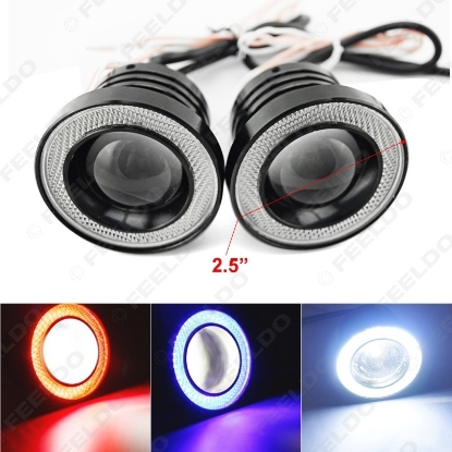"""Picture of 2pcs/lot 2.5"""" 30W Car Projector Lens Fog Light With COB Angel Eyes Daytime Running Light DRL Headlight"""
