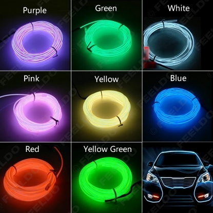 Picture of 3-meter 8-color Flexible EL Neon Glow Lighting Rope Strip + Charger for Car Decoration