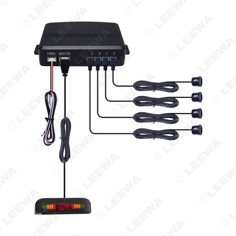 Picture of Car LED Backlight Display 22mm 4-Sensor Parking Sensor Forward Astern Radar Kit System 10-Color 12V