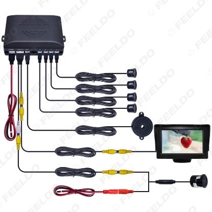 "Picture of Car 4.3"" LCD Monitor 4-sensor Parking Sensor 18.5mm Snap Ring Camera Reversing Rearview Parking System"