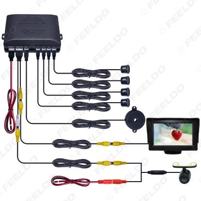 "Picture of Car 4.3"" LCD Monitor 4-sensor Parking Sensor 16.5mm Mini CCD Camera Reversing Rearview Parking System"