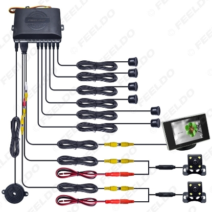 Picture of Car 6 Sensors Front&Rear Dual View Parking Sensor Rear View System +Monitor+CCD Camera