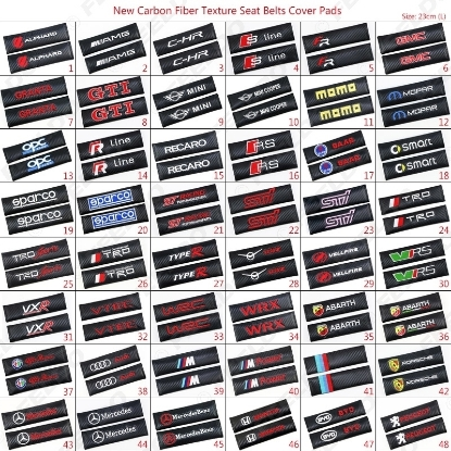 Picture of 1pair Carbon Fiber Texture Seat Belts Cover Shoulder Padding For Mixed-Order