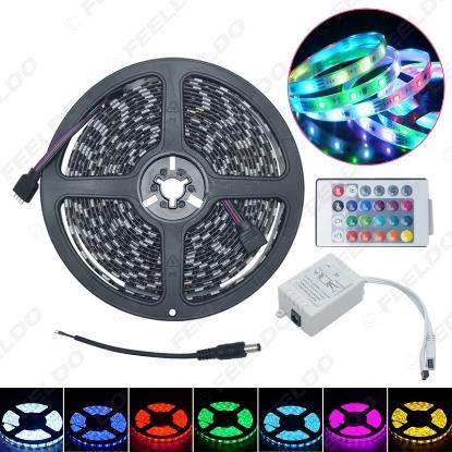 Picture of 500CM 5m 5050SMD 300LED Waterproof Car RGB LED Strip light Strip + 24 Key IR Remote