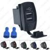 Picture of Car 12V-24V 3.1A Dual USB Socket Charger Power Adapter Truck ATV Boat USB Cigarette Lighter Adapter Outlet 2 Ports
