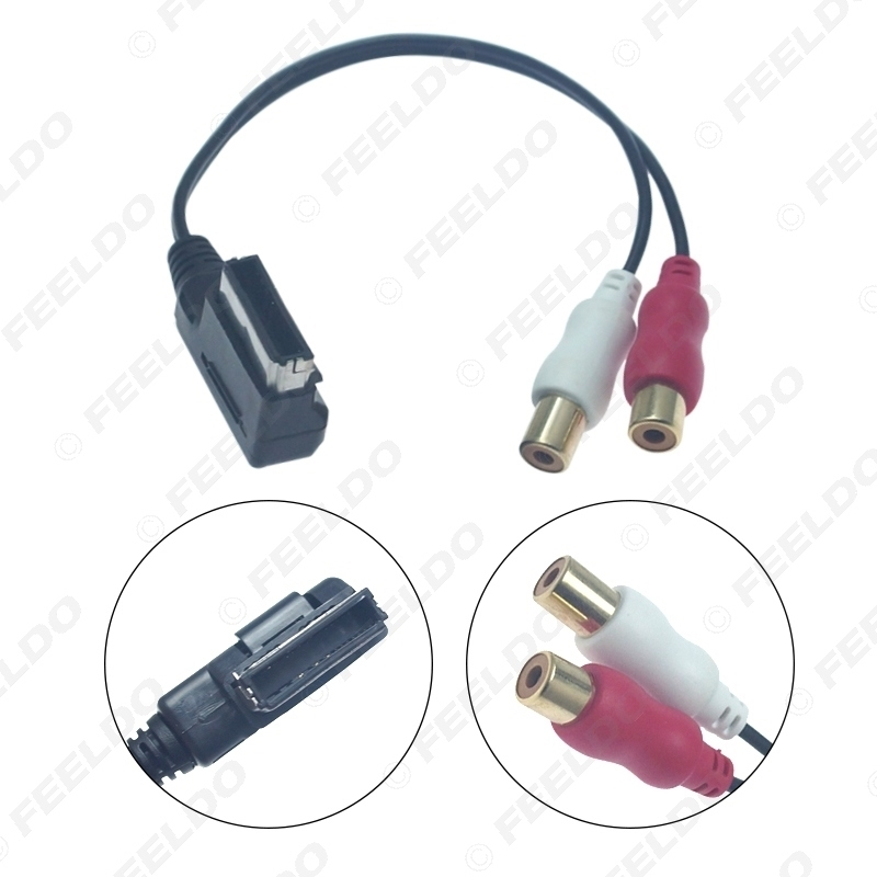Picture of Car Audio Music MDI/AMI Interface To 2-RCA Female AUX Cable For Audi Volkswagen Skoda Wire Aux Adapter