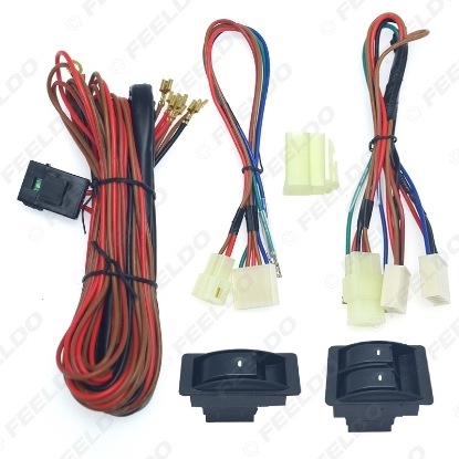 Picture of Universal Car Front 2-Door Power Window 3pcs Switches & Holder Wire Harness With Illumination Green Light