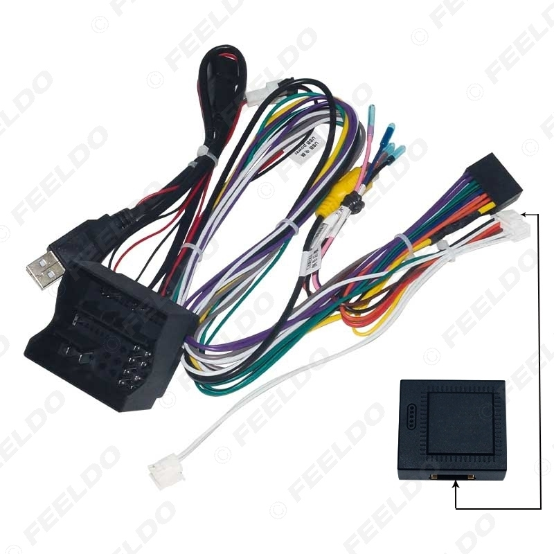 Picture of Car Audio 16PIN Andriod CD/DVD Player Power Calbe Adapter With Canbus Box For Volkswagen Golf 7 Stereo Plug Wiring Harness