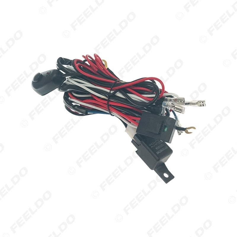 Picture of Auto Light Wiring Harness Cable H1 LED Headlight Fog Lamp Bulb With Automotive Relay & Switch Connector Adapter